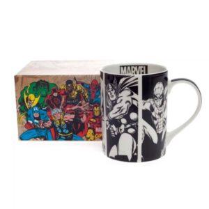 caneca-marvel-comics-Vingadores Guerra infinita preta-branca